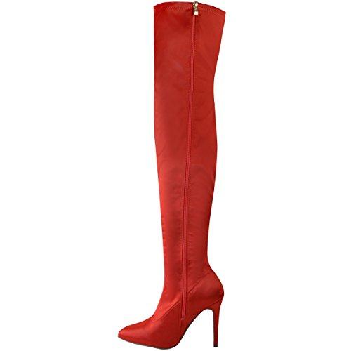 FASHION Thirsty NUOVO da donna satin stretch coscia Stivali SERPENTE DRAGON SCARPE TACCHI ALTI Taglia raso rosso