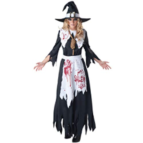 Goods Prom Halloween Kostüm SkeletonSexy Ghost Suit Schwarz Braut Damen Halloween Scary Kostüme für Frauen Zombie Corpse Cosplay Kostüm Adult Dress Club Wear Party, S ()
