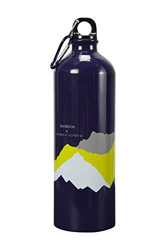 Mountain Warehouse 1 Liter Metall-Flasche mit Karabiner 3 Peaks - auslaufsicherer Deckel, Leichter Karabiner, Trinkflasche mit Handreinigung - für Camping und Wandern Marineblau -
