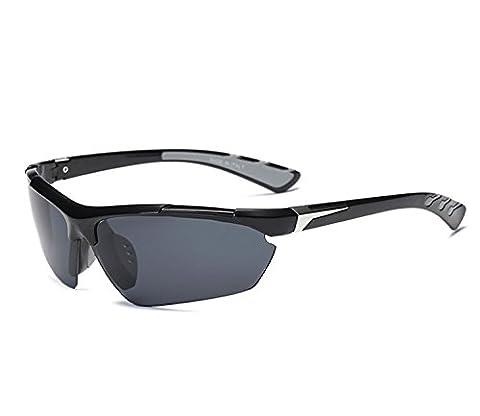 Unisex Polarisierter Sport Sonnenbrille Herren Damen für Ski Fahren Golf Laufen Radsport (Schwarz Grau, Schwarz)