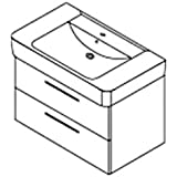 Meuble de lavabo 2 tiroirs burgbad compatible keramag renova nr. 1 plan wUJD075 85 cm