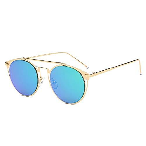 MOJINGYAN Sonnenbrillen,Vintage Colorfull Metall Sonnenbrillen Mode Thom Browne Sonnenbrille Männer Marke Sonnenbrille Box Frauen Gold Grün Quecksilber
