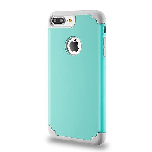 Coque iphone 8 plus & iPhone 7 plus,coque 2 en 1 Bumper [Dual Layer] en PC et TPU silicone [Hybrid Defender] Etuis Housse Extreme Protection pour iphone 8 plus & iPhone 7 plus (5.5 Inch)(Blanc+Gris) vert menthe gris