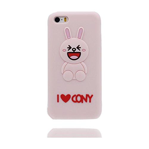 iPhone 5 Coque, Étui Cover Housse pour iPhone 5S 5C 5G, Durable TPU Rubber Skin Soft Shell iPhone SE Case, Résistant à la poussière Scratch (3D Cartoon lapin oreille) & Bouchon anti-poussière Pink 1