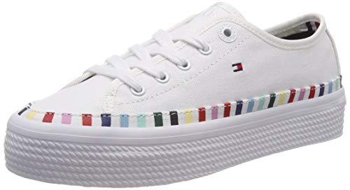 Tommy Hilfiger Rainbow Flatform Sneaker, Scarpe da Ginnastica Basse Donna, Bianco (White 100), 40 EU