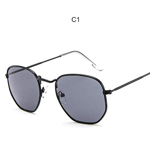 GAOHAITAO Fashion Sunglasses Women Designer Small Frame Polygon Clear Lens Sunglasses  Men Sun Glasses Hexagon Metal Frame,Style 1