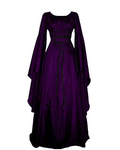 Liangzhu Mujer Mangas Largas Cuello Redondo Vestido Medieval De Señora Largo Vestido Renacimiento Gótico Vestido Morado S