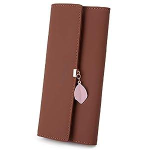 UTO Damen PU Leder Lange Brieftasche mit Blatt Anhänger Kartenhalter Handytasche Mädchen Reißverschluss Geldbörse