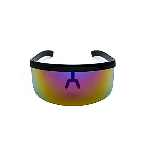WERERT Sportbrille Sonnenbrillen Sexy Oversized Shield Visor Sunglasses Women Designer Big Frame Mirror Sun Glasses Shades Men Windproof Eyewear