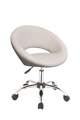 Drehstuhl mit Rollen Arbeitshocker in Weiß Drehhocker mit Lehne Schreibtischstuhl höhenverstellbar Duhome 0122