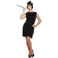 Femme Des Années 30 Sexy Costume Robe Charleston (Noir)