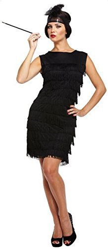 Costume Fancy Dress Flapper Girl Anni 30 (Nero)