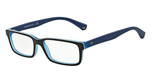 emporio-armani-fur-mann-3061-black-matte-blue-kunststoffgestell-brillen-53mm