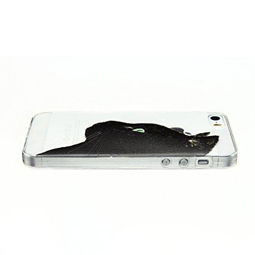 Cover iPhone 5 Custodia iPhone 5s Silicone Anfire Morbido Flessibile TPU Gel Case Cover per Apple iPhone 5/5s/SE (4.0 Pollici) Ultra Sottile Clear Trasparente 3D Copertura Antiurto Bumper Protettivo S Gatto