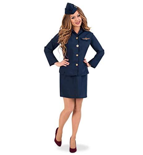 KarnevalsTeufel Damenkostüm Stewardess 3-teilig Rock und Oberteil mit Schiffchen in dunkelblau Flugbegleiterin Verkleidung (36) (3 Teiliges Stewardess Kostüm)