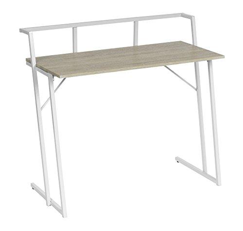 Braun Sekretär Schreibtisch (ts-ideen Design Schreibtisch Computer Arbeitstisch PC-Tisch MDF helle Holzoptik und weißes Gestell)
