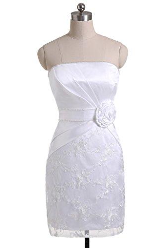 Sunvary scollo guaina senza spalline con fiore, per abiti da sera o da cerimonia White