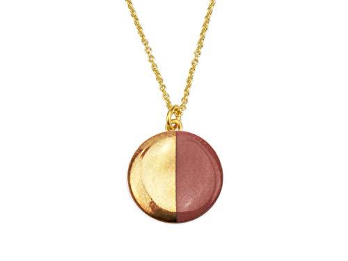 lille mus Halskette mit Porzellan-Anhänger Halbkreis - Bordeaux/Gold Porzellanschmuck Kette - Bordeaux-mini-anhänger