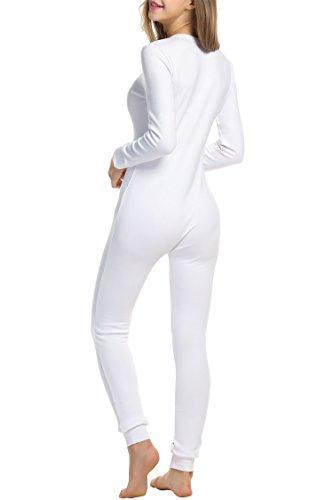 HOTOUCH Damen Langarm Strampler Jumpsuit Onesie Thermo Unterwäsche Stretch Nachtwäsche Thermowäsche mit Rundhalsausschnitt Weiß