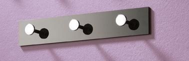 4er Garderobenleisten Set aus Acryl mit 3 Knöpfen in schwarz; Maße (BTH) in cm: 34 x 4 x 6