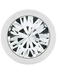Stahl - Schraubkugel - weiß - Kristall - SWAROVSKI - Supernova Concept(Piercing Schraubkugel Aufsatz für Hufeisen, Stäbe, Labrets etc.)