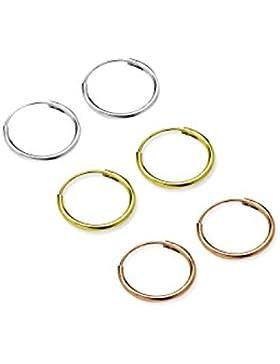 3Paar Set 10mm Sterling Silber Klein Endless Creolen Sleeper in Silber, Gold plattiert und Rose vergoldet, hypoallergen...