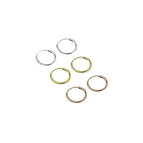 Silverline Jewelry Lot de 3paires de dormeuses en argent sterling, plaqué or, et or rose de 10mm