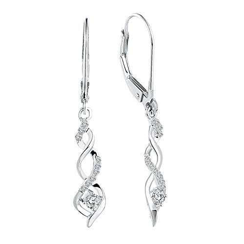 JO WISDOM Damen hängende ohrringe Unendlichkeit infinity silber 925 mit AAA Zirkonia Kristall