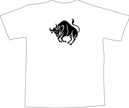 T-Shirt E1043 Schönes T-Shirt mit farbigem Brustaufdruck - Logo / Grafik - Comic Design - Silhouette von wütendem Stier Weiß