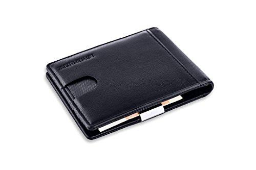 LØWENHERZ Portemonnaie mit GELDKLAMMER für Herren: schwarz, mit RFID und NFC Schutz, Kreditkartenetui mit Geldclip, Brieftasche mit Geldscheinklammer, Visitenkartenetui mit Geldclip