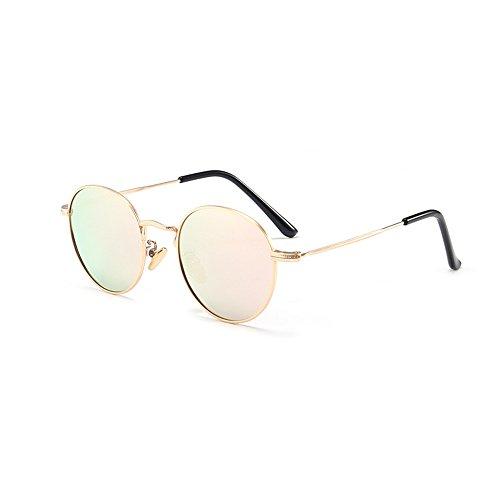 Yiph-Sunglass Sonnenbrillen Mode Jahrgang kleine runde Kinder polarisierte Sonnenbrille Full Metal umrahmt mit Box farbige Linse UV-Schutz Jungen und Mädchen im Alter von 3 bis 12 (Farbe : Rosa) - Umrahmt
