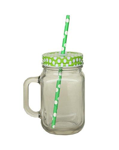 Glas Becher mit Strohhalm und Deckel 420ml-Metall Schraube auf Deckel mit Silikondichtung und wiederverwendbarer Strohhalm-Glas Griff wie ein Mason Jar-geeignet für Smoothies & Fruits Saft - Mason Fruit Jars