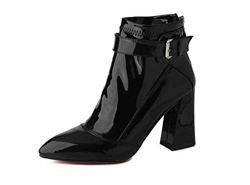 VogueZone009 Damen Blend-Materialien Spitz Zehe Hoher Absatz Stiefel Schwarz
