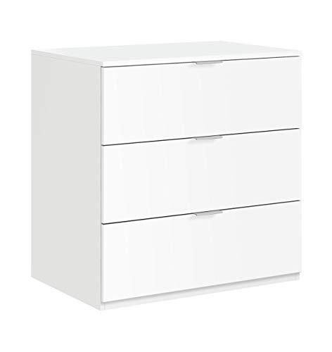 Habitdesign LC7823O - Cómoda 3 cajones color Blanco Mate, medidas: 80 x 77 x 38 cm de fondo
