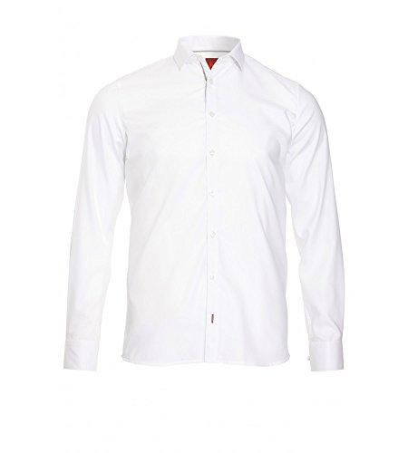 Pure - Slim Fit - Herren Langarm Hemd in verschiedenen Farben (3376 128) Weiß (900)