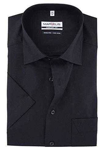 Hemd Schwarz Bekleidung (Marvelis Hemd Bügelfrei New Kentkragen in Kurzarm (12cm) Bügelfrei und knitterfrei schwarz, Einfarbig, Größe 41 - L)