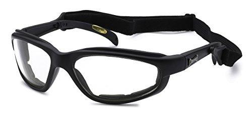Moda Choppers Gangster Biker Radfahren Gepolsterte Matte Motorrad-Schutzbrille-Sonnenbrille 1 55 Mittel Klare Sichtscheibe w/Cord