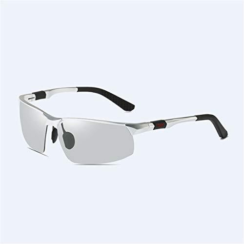 Sport-Sonnenbrillen, Vintage Sonnenbrillen, Fashion Sunglasses Men Aluminum Magnesium Square Polarized Sun Glasses Photochromic Chameleon Driver Driving Polaroid Glasses silver photochromic