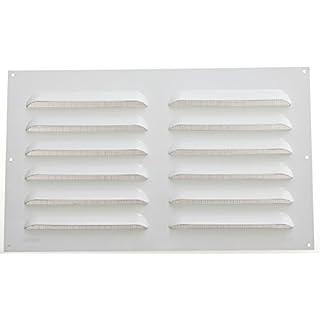 Wetterschutzgitter Lüftungsgitter Aluminium weiß 30 x 50 cm mit Fliegendraht Lamellengitter