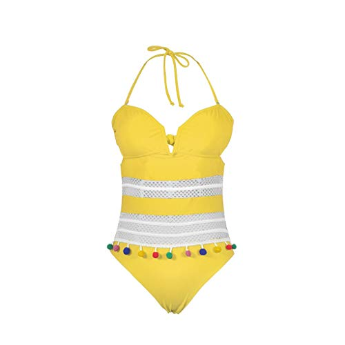 Committede Damen Sommer Bikini Badeanzug Strandkleid mit Quasten Mesh-Nähte Beach Bikini Blumenmuster Bademode Hohe Taille Bauchweg Neckholder Push Up Swimsuit