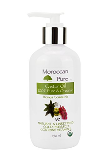 Moroccan Pure Castor Oil for Hair Growth Nails Skin and Hair Darkening Organic and Natural 100% Pure 250ml