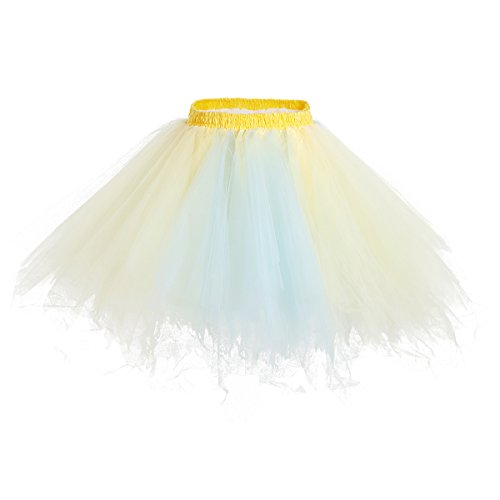 Bridesmay Mujeres Faldas Enaguas Cortas Tul Plisada Fiesta Tutu Ballet Champagne-Light Blue M