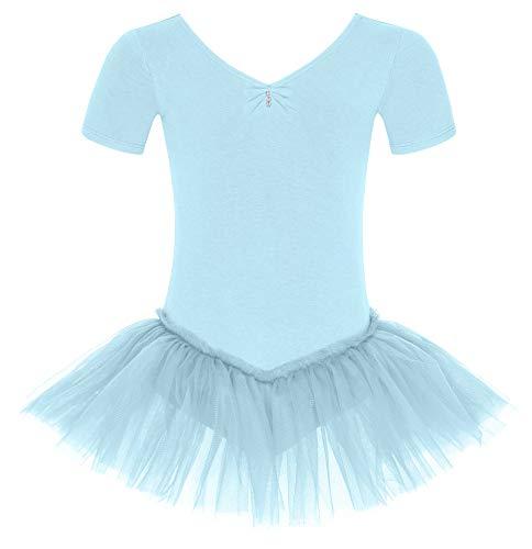 tanzmuster Kinder Ballett Tutu Nele - süßer Kurzarm Ballettbody mit Tuturock und Glitzersteinen in hellblau, ()