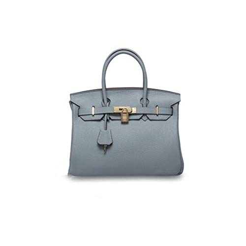 Casual Messenger Bag Fashion Tote Bag Long Shoulder Strap Damen First Layer Leder Platinum Bag Leder Schultertasche Hellblau 35cm (Wallet Satin-long)