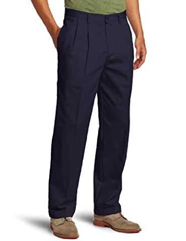 IZOD Men's American Chino Pleated Pant, Navy, 34W x 34L