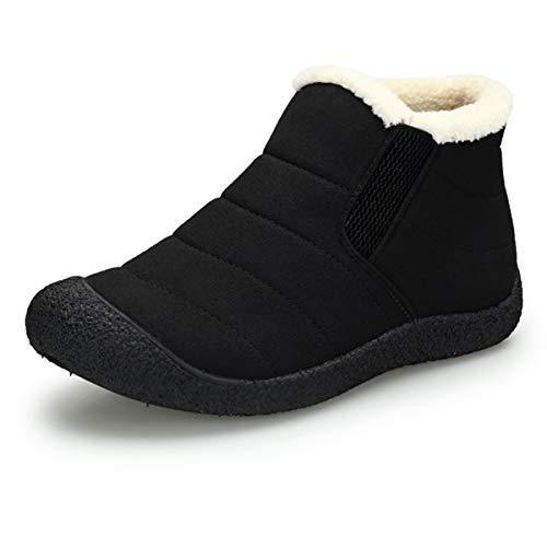 Punta Redonda Botas de Nieve para Mujer Hombre Antideslizante Planas Outdoor Boots Forrado de Piel Botines...
