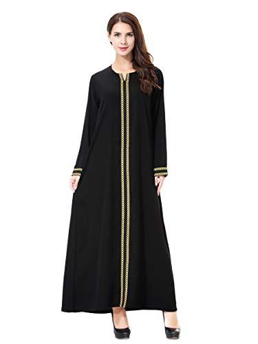 XDXART Frauen muslimischen Roben islamischen Abaya Maxi Kleid Langarm Langmantel marokkanischen Kaftan Kaftan Kleid (Gold, XL) (Marokkanischen Kaftan-kleider Für Frauen)