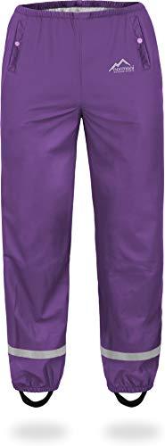 normani Kinder-Regenhose 2-Wege-Stretch Überziehhose Unisex für Jungen und Mädchen ungefüttert - Wasserdicht (Wassersäule: 5000 mm, Winddicht und Atmungsaktiv Farbe Violett Größe XL/158-164