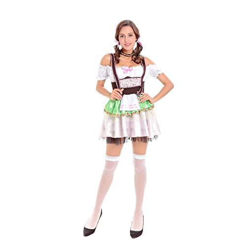 Story of life Oktoberfest Frauen Sexy Bier Mädchen Kostüm Oktoberfest Deutsches Kostüm Dienstmädchen Kleid,White,XL