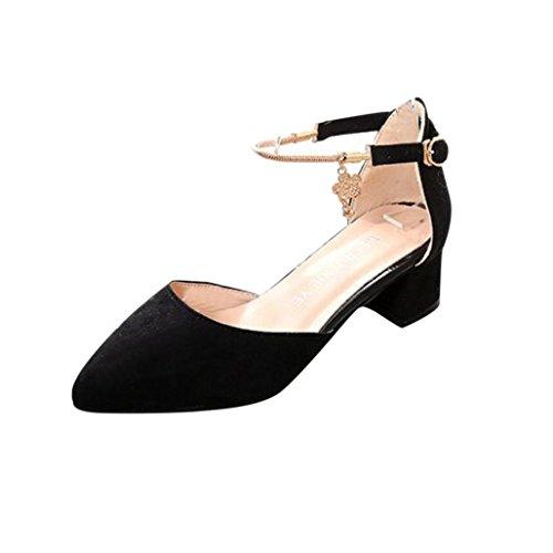 Frühling Sommer Sandalen Damen, DoraMe Frauen High Heels Hochzeit Schuhe Plattform Keil Schuhe Mode Freizeit Pumps Elegant Party Einzelne Schuhe (39, Schwarz) (Schwarz-plattform Spitze)